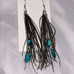 Jewelry - 🎉HP🎉Feather Earrings With Turquoise Beads